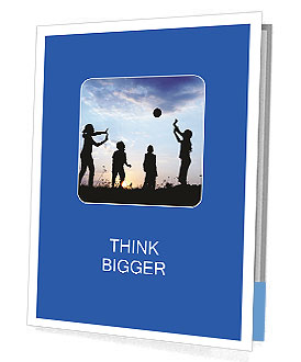 Happy children playing hand ball at sunset time Presentation Folder