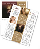Woman praying with glowing lights lifting up. Newsletter Template