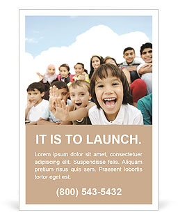 Crowd of children, sitting together happily Ad Template