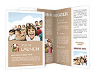 Crowd of children, sitting together happily Brochure Template