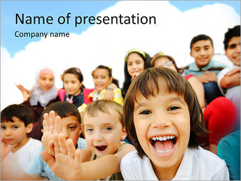 Crowd of children, sitting together happily PowerPoint Template