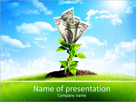 Bush of dollar bills on the green grass against the blue sky. Concept. PowerPoint Template