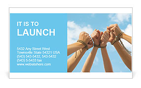 Three pairs of human hands tied up together with rope Business Card Template