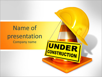 Helmet for builder worker. Traffic cones. Under construction sign. Icon isolated on white background PowerPoint Template