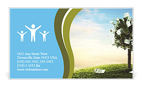 Photo of tree made of dollars Business Card Template