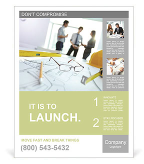 Image of engineering objects on workplace with three partners interacting on background Poster Template
