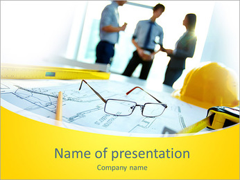 Image of engineering objects on workplace with three partners interacting on background PowerPoint Template