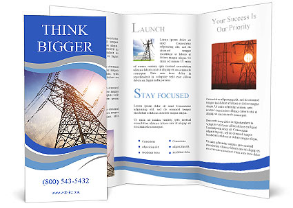 High voltage post.High-voltage tower sky background. Brochure Template