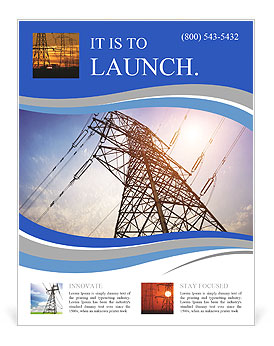 High voltage post.High-voltage tower sky background. Flyer Template