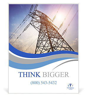 High voltage post.High-voltage tower sky background. Poster Template