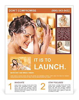 Woman washes her head at home bathroom. Flyer Template