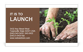 Planting a tomatoes seedling Business Card Template