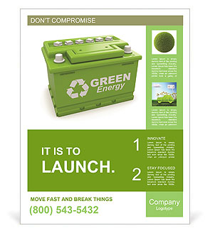 Car battery with green recycle sign. 3d Poster Template