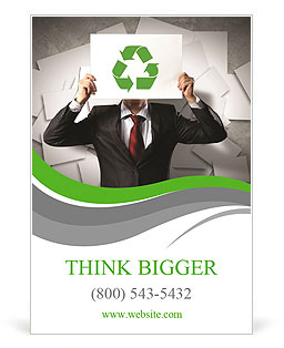 Image of man holding board with recycling sign Ad Template