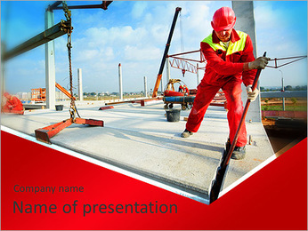Builder worker in safety protective equipment installing concrete floor slab panel at building const PowerPoint Template