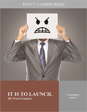 Businessman covering his face with angry mask on gray background Word Template - Page 1