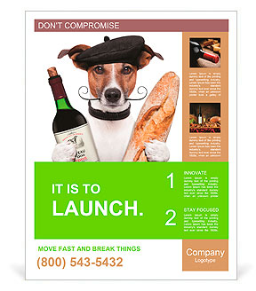 French dog wine baguette beret Poster Template
