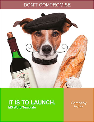 French dog wine baguette beret Word Template - Page 1