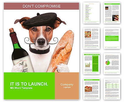 French dog wine baguette beret Word Template