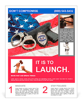 Police badge, gun and handcuffs on an American flag symbolizing law enforcement in the United States Flyer Template
