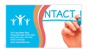 Hand writing Contact Us with blue marker on transparent wipe board. Business Card Template