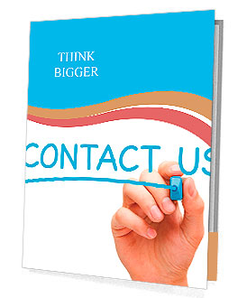 Hand writing Contact Us with blue marker on transparent wipe board. Presentation Folder