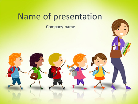 Illustration Of School Kids Following Their Teacher Stock Vector Illustration Powerpoint Template Infographics Slides