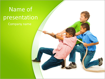 Three strong boys pulling the rope with strength standing isolated on white PowerPoint Template