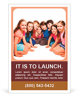 Group of happy 10 years old boys and girls sitting together in semi-circle Ad Template