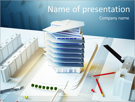 Architectural model of a modern building PowerPoint Template