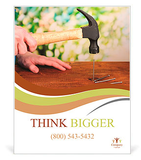Builder hammering nails into board on natural background Poster Template