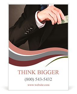 Business man hiding money in pocket on black background Ad Template