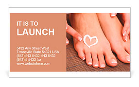 Beautiful woman legs with cream and hands on bamboo mat Business Card Template