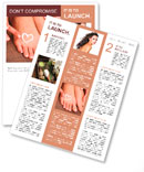 Beautiful woman legs with cream and hands on bamboo mat Newsletter Template