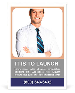 Portrait of young happy smiling business man, isolated over white background Ad Template