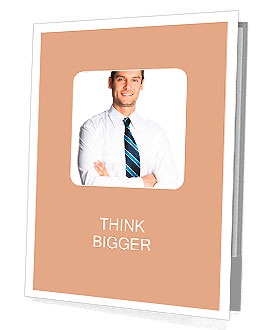 Portrait of young happy smiling business man, isolated over white background Presentation Folder