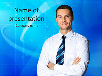 Portrait of young happy smiling business man, isolated over white background PowerPoint Template