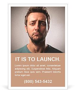 人像的年轻伤心的人 广告模板
