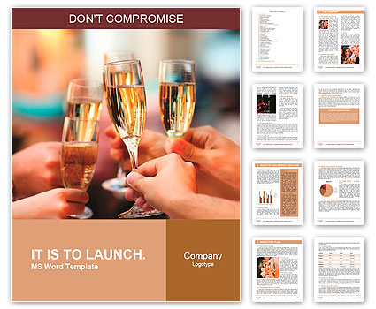 Celebration. People holding glasses of champagne making a toast Word Template