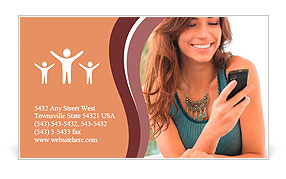 Happy Woman Looking and Text Messaging On The Smart Phone Business Card Template