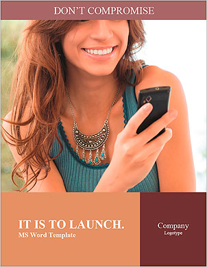Happy Woman Looking and Text Messaging On The Smart Phone Word Template - Page 1