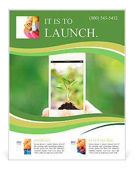 Woman hand holding smart phone against spring green background Flyer Template