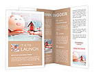 Hands holding a piggy bank and a house model. Housing industry mortgage plan and residential tax sav Brochure Template