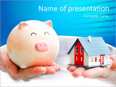 Hands holding a piggy bank and a house model. Housing industry mortgage plan and residential tax sav PowerPoint Template