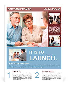 Senior couple discussing financial plan with consultant Flyer Template