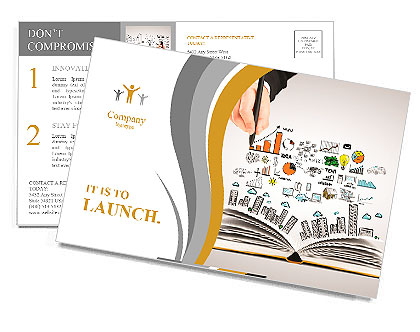 Hand drawing business concept and open book Postcard Template
