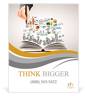 Hand drawing business concept and open book Poster Template