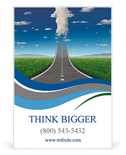 No limits success concept with a road or highway going forward fading into the sky with a group of c Ad Template