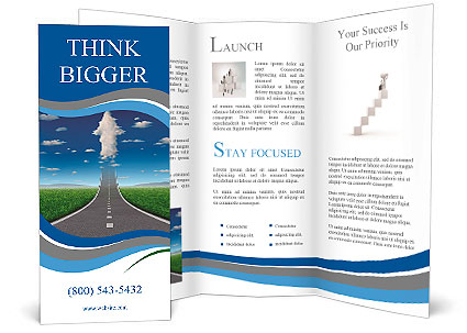 No limits success concept with a road or highway going forward fading into the sky with a group of c Brochure Template