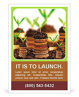 土壤与青年植物黄金硬币孤立。货币增长的概念。 广告模板